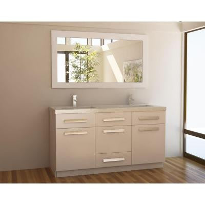 Moscony 60 in. W x 22 in. D Double Vanity in White with Composite Stone Vanity Top in Quartz and Mirror