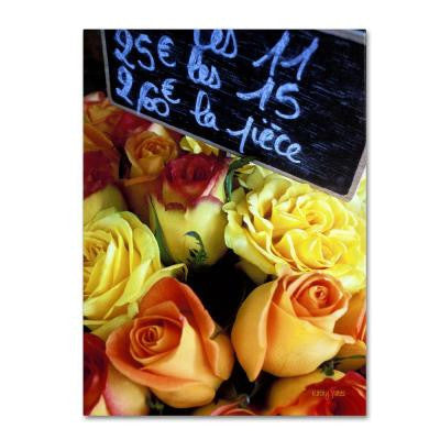 32 in. x 22 in. Paris Roses Canvas Art