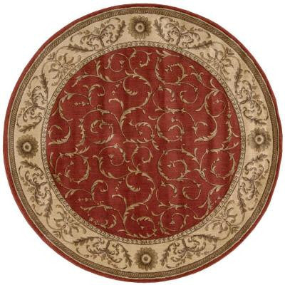 Scrollwork Red 5 ft. 6 in. Round Area Rug