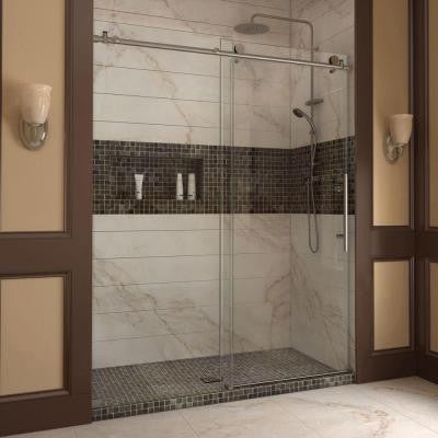 Enigma-X 56 in. to 60 in. x 76 in. Frameless Sliding Shower Door in Brushed Stainless Steel