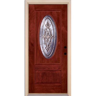 37.5 in. x 81.625 in. Silverdale Zinc 3/4 Oval Lite Stained Cherry Mahogany Fiberglass Prehung Front Door