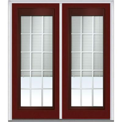 72 in. x 80 in. Classic Clear RLB GBG Low E Glass Full Lite Painted Majestic Steel Double Prehung Front Door