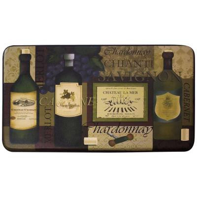 Favorite Wine 18 in. x 30 in. Faux Leather Comfort Kitchen Mat