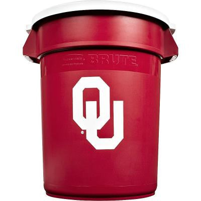 BRUTE NCAA 32 Gal. University of Oklahoma Round Trash Can with Lid