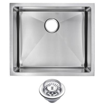 Undermount Small Radius Stainless Steel 23x20x10 0-Hole Single Bowl Kitchen Sink with Strainer in Satin Finish