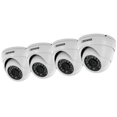 Pro 800TVL Ultra High Resolution Widescreen Indoor/Outdoor Dome Security Cameras (4-Pack)