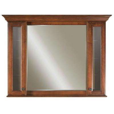 Spain 48 in. x 40 in. Surface-Mount Mirrored Medicine Cabinet in Golden Straw