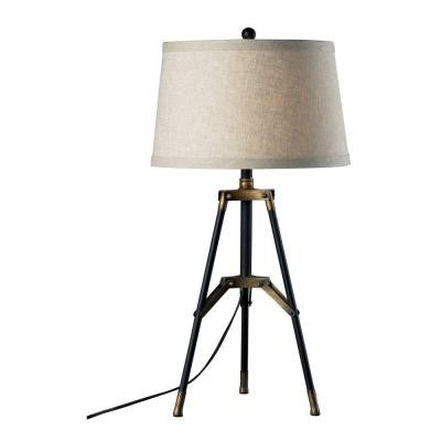 Functional Tripod 30 in. Restoration Black and Aged Gold Table Lamp with Shade