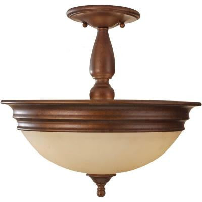 Yorktown Heights 3-Light Prescott Bronze Semi-Flush Mount
