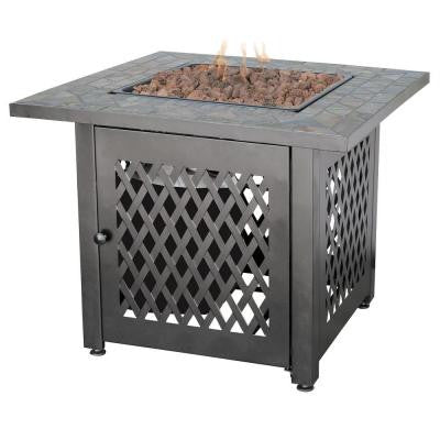 30 in. Steel LP Fire Pit with Slate Mantel