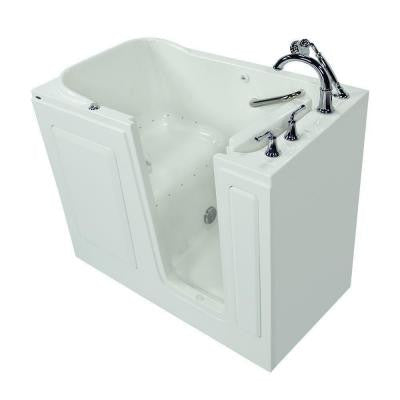 Gelcoat 4.25 ft. Walk-In Air Bath Tub with Right-Hand Quick Drain and Cadet Right-Height Toilet in White