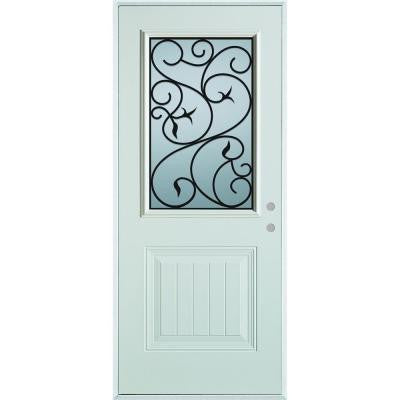 36 in. x 80 in. Silkscreened Glass 1/2 Lite 1-Panel Prefinished White Steel Prehung Front Door