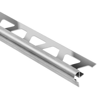 Trep-FL Brushed Stainless Steel 11/32 in. x 4 ft. 11 in. Metal Stair Nose Tile Edging Trim