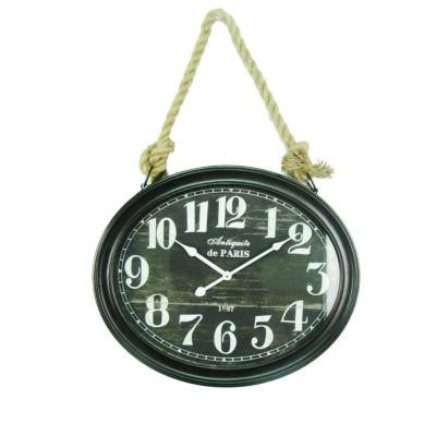 20 in. x 16.5 in. Circular MDF Wall Clock with Rope in Black Frame