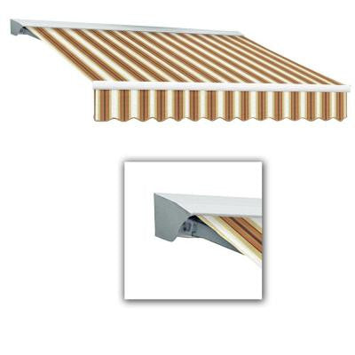 14 ft. LX-Destin with Hood Manual Retractable Acrylic Awning (120 in. Projection) in Tan/Terra/White