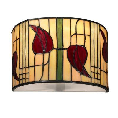 Macintosh 1-Light White Sconce with Art Glass Shade