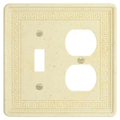 Contempo Greek Key Double-Gang Toggle and Duplex Receptacle Combination Wall Plate - Light Travertine