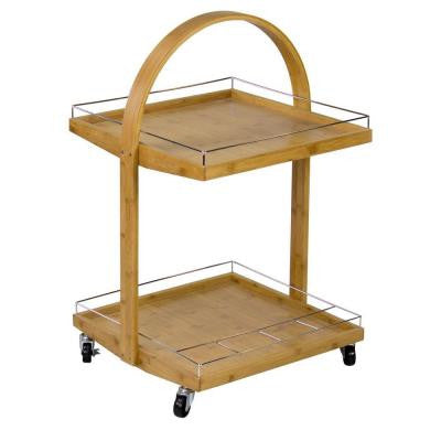 19 in. W Bamboo Mobile Kitchen Cart with Wine Rack