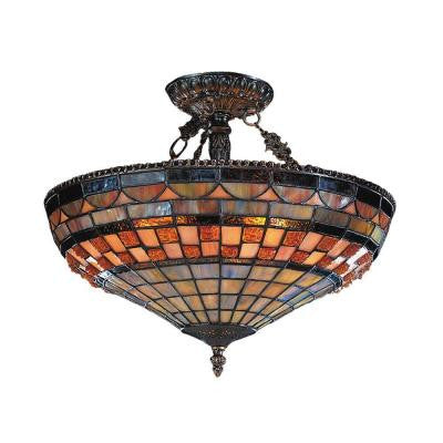 Jewelstone 3-Light Classic Bronze Ceiling Semi-Flush Mount Light