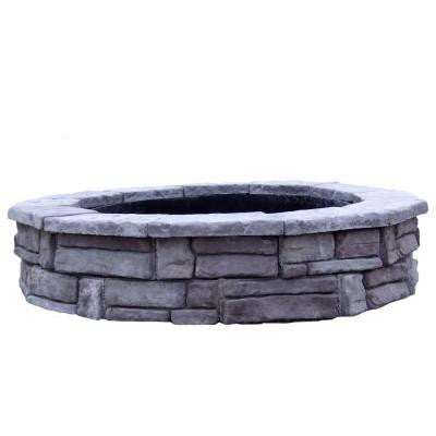 60 in. Concrete Random Stone Gray Round Fire Pit Kit