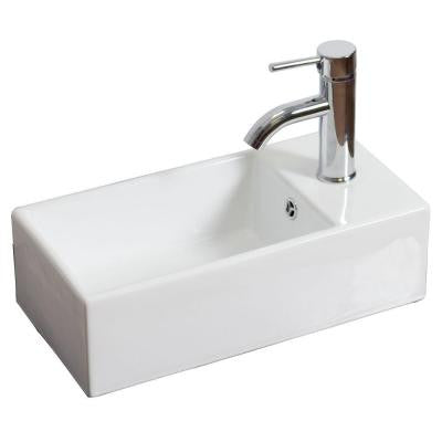 18-in. W x 10-in. D Above Counter Rectangle Vessel Sink In White Color For Single Hole Faucet