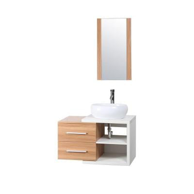 Ella 32 in. W x 19 in. D Vanity in Natural with MDF Vanity Top in White with White Basin and Mirror
