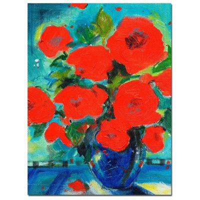 35 in. x 47 in. Cobalt Vase with Red Blossoms Canvas Art