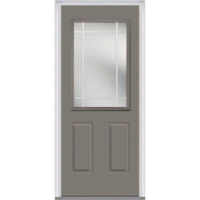 32 in. x 80 in. Classic Clear Glass PIM 1/2-Lite Painted Builder's Choice Steel Prehung Front Door