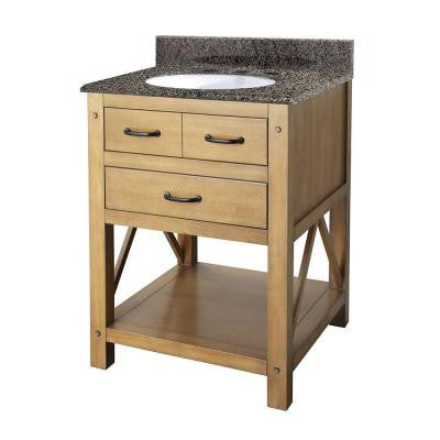 Avondale 25 in. Vanity in Weathered Pine with Granite Vanity Top in Quadro