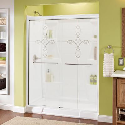 Simplicity 59-3/8 in. x 70 in. Sliding Shower Door in White with Nickel Hardware and Semi-Framed Tranquility Glass