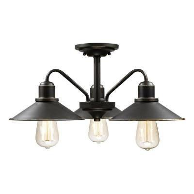 Niven 3-Light Olde Bronze Semi-Flush Mount Light