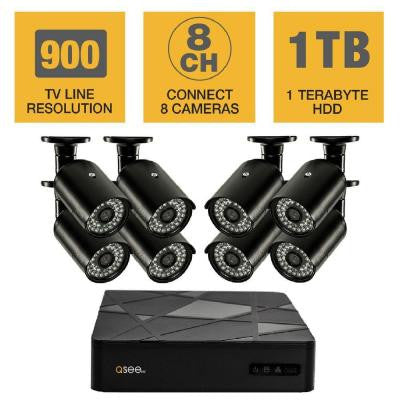8-Channel 960H 1TB Surveillance System with (8) 900TVL Cameras and 100 ft. Night Vision