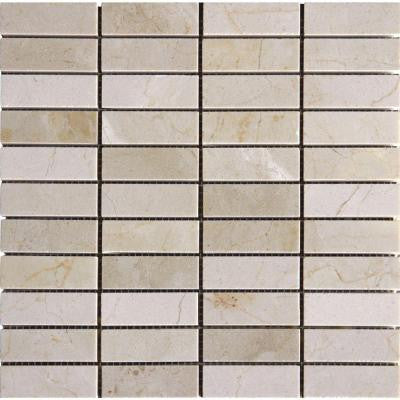 Crema Marfil 12 in. x 12 in. x 10 mm Polished Marble Mesh-Mounted Mosaic Tile (10 sq. ft. / case)