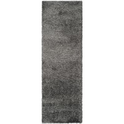 California Shag Dark Grey 2 ft. 3 in. x 11 ft. Rug Runner