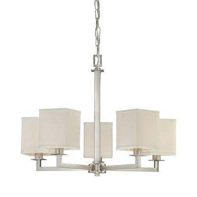 Menlo Park 5-Light Brushed Nickel Chandelier