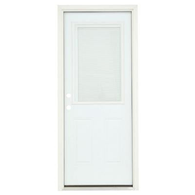 32 in. x 80 in. 1/2 Lite Primed Premium Steel Prehung Front Door with Mini-Blinds and Brickmould