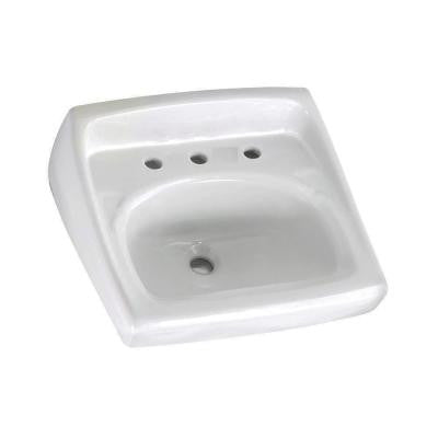 Lucerne Wall-Mounted Bathroom Sink for Exposed Bracket Support by Others with Faucet Centers in White