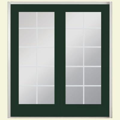 72 in. x 80 in. Conifer Prehung Right-Hand Inswing 10 Lite Fiberglass Patio Door with No Brickmold