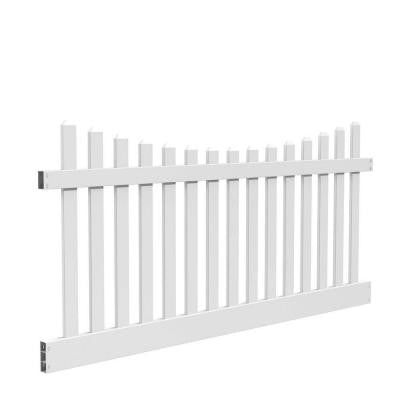 Kettle Scallop 4 ft. x 8 ft. White Vinyl Un-Assembled Fence Panel