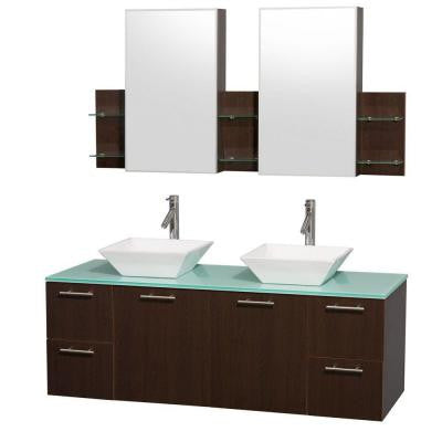 Amare 60 in. Double Vanity in Espresso with Glass Vanity Top in Aqua and White Porcelain Sinks