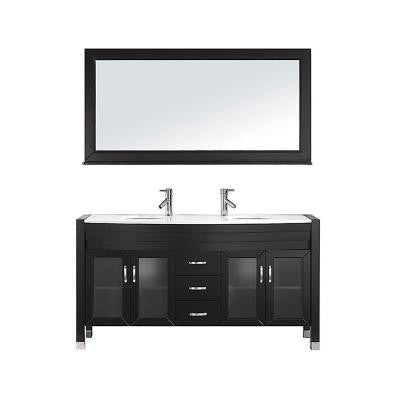 Ava 63 in. Double Basin Vanity in Espresso with Stone Vanity Top in White and Mirror