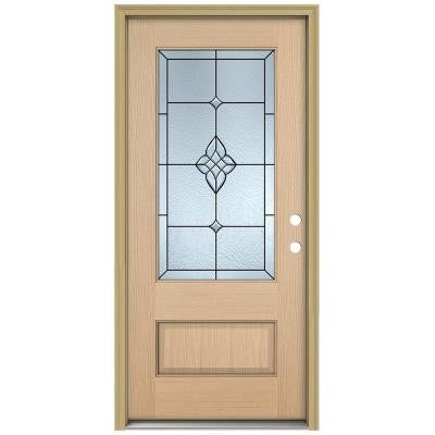 36 in. x 96 in. Rosemont 3/4 Lite Unfinished Hemlock Wood Prehung Front Door with Brickmould and Patina Caming