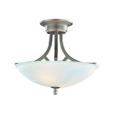 Cabernet Collection 2-Light Brushed Nickel Semi-Flush Mount Light with White Marbleized Shade