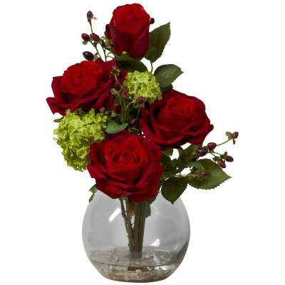 14 in. H Red Rose and Hydrangea Silk Flower Arrangement