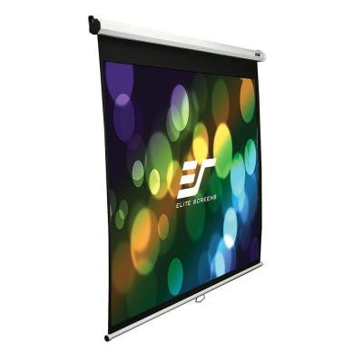 49 in. H x 87 in. W Manual Slow Retract Projection Screen with White Case