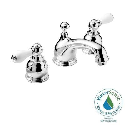 Hampton 8 in. Widespread 2-Handle Low-Arc Bathroom Faucet in Chrome with Porcelain Levers