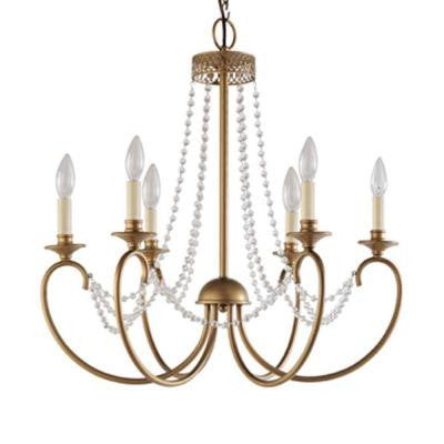 Estelle 6-Light Gold Hanging Chandelier