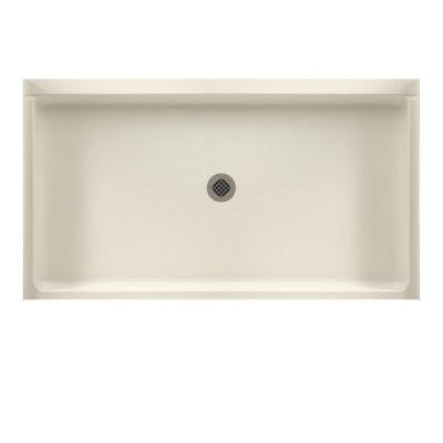 32 in. x 60 in. Solid Surface Single Threshold Shower Floor in Bone
