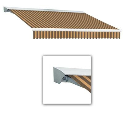 12 ft. Destin-AT Model Manual Retractable Awning with Hood (120 in. Projection) in Brown/Tan