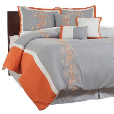 Branches Orange Embroidered 7-pc. King Comforter Set